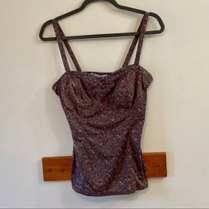 Maurices Brown Floral Tank Top Size Medium